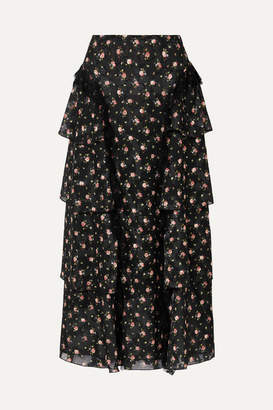 Anna Sui Lace-trimmed Tiered Floral-print Devoré-georgette Skirt - Black