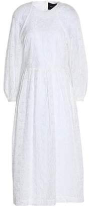 Simone Rocha Pleated Broderie Anglaise Cotton-Blend Shell Midi Dress