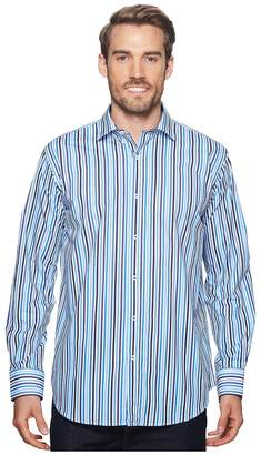 Bugatchi Shaped Fit Striped Woven Shirt Men's Long Sleeve Pullover