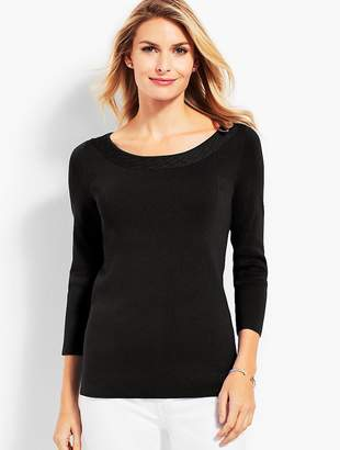 Talbots Pointelle-Trimmed Bateau Sweater