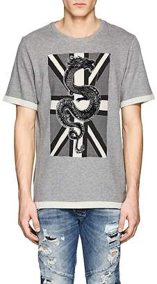 Pierre Balmain MEN'S DRAGON-PRINT WOOL-BLEND T-SHIRT