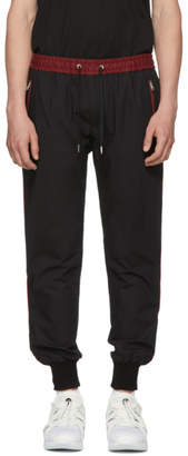 Dolce & Gabbana Black and Red Stripe Cuff Trousers