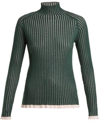 Burberry Contrast Trim Cashmere Blend Sweater - Womens - Green