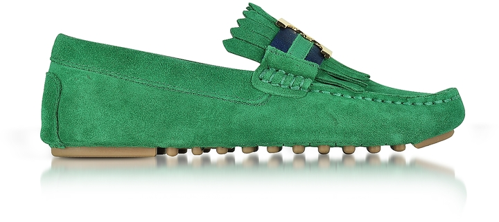 Tory Burch Tory Burch Gemini Link Emerald Stone Suede Driver Shoes