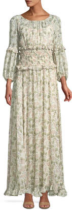 Max Studio Floral Bubble-Sleeve Smocked-Waist Maxi Dress