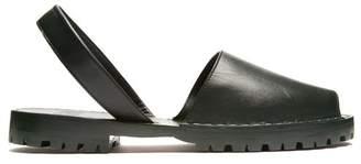 Goya - Leather Slingback Sandals - Womens - Dark Green