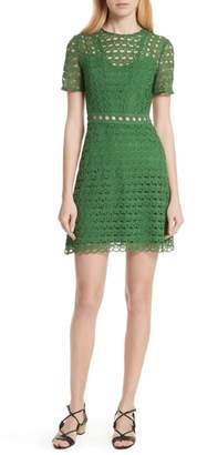 Sandro Scalloped Lace Short Sleeve Dress