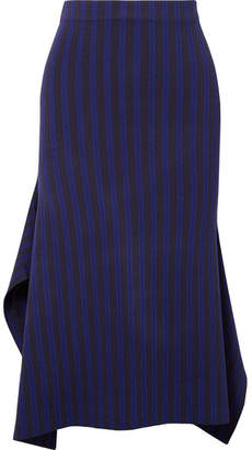 Jason Wu GREY - Asymmetric Striped Stretch-jersey Midi Skirt - Indigo
