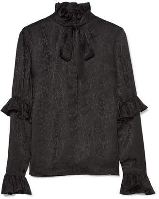 Saint Laurent Pussy-bow Ruffled Silk-satin Jacquard Blouse - Black
