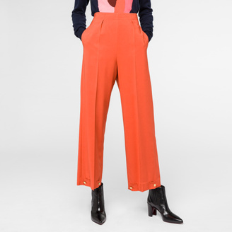 Women's Burnt Orange Cady Trousers With Button-Cuffs $550 thestylecure.com