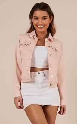 Showpo Clear Days Denim Jacket in blush