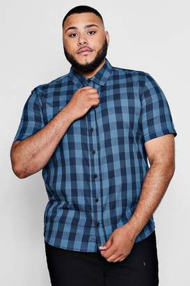 boohoo Big And Tall Large Check Short Sleeve Shirt