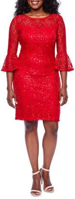 Ronni Nicole 3/4 Sleeve Pattern Shift Dress-Petite