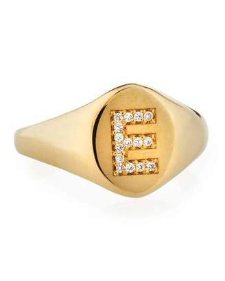 Chicco Zoe Personalized 14k Gold Pave Initial Signet Ring
