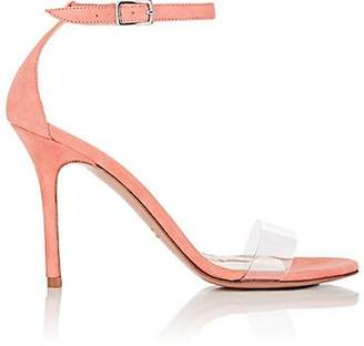 Barneys New York WOMEN'S SUEDE & PVC ANKLE-STRAP SANDALS - PEACH SIZE 10