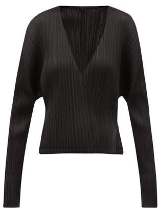 Pleats Please Issey Miyake Pleated Cropped Tie Waist Jacket - Womens - Black