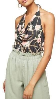 Miss Selfridge Chain Print Cowlneck Bodysuit