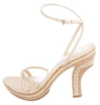 Christian Dior Woven Leather Ankle Strap Sandals