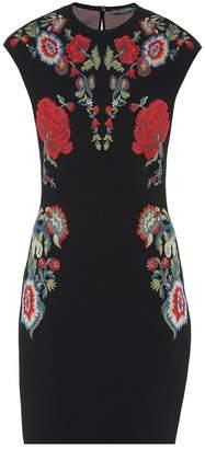 Alexander McQueen Floral stretch knit minidress