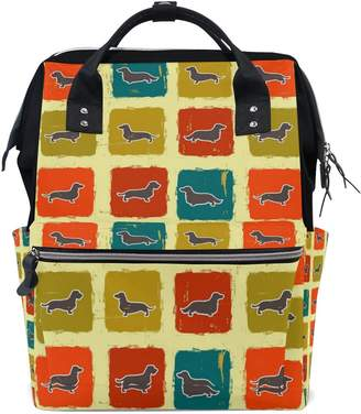 ALIREA Dachshunds Varieties Retro Pattern Diaper Bag Backpack, Large Capacity Muti-Function Travel Backpack