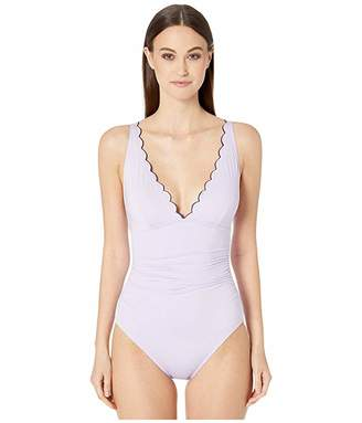 Kate Spade Contrast Scalloped Plunge One-Piece