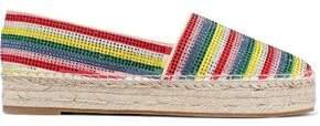 Alice + Olivia Dalyn Crystal-embellished Striped Suede Platform Espadrilles