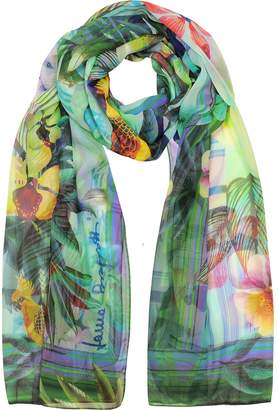 Laura Biagiotti Emerald Green Tropical Printed Chiffon Silk Stole