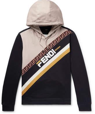 Fendi Logo-Appliquéd Fleece-Back Cotton-Jersey Hoodie