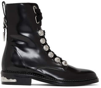 Toga Pulla Black Studded Lace-Up Boots