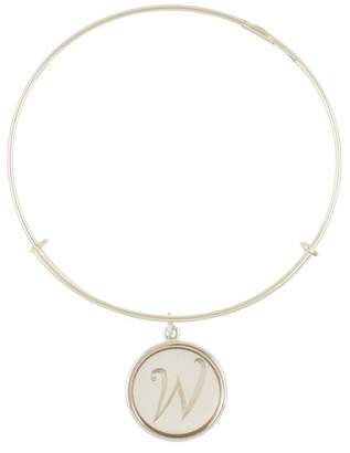 Alex and Ani Sterling Silver Initial W Charm Wire Bangle
