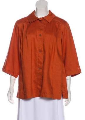 Hermes Linen Short-Sleeve Top