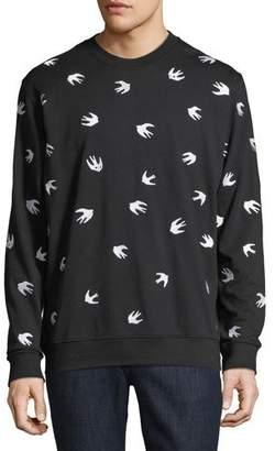McQ Men's Swallow-Print Crewneck Cotton Sweatshirt