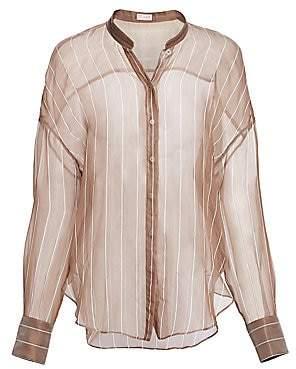 Brunello Cucinelli Women's Sheer Silk Organza Striped Blouse