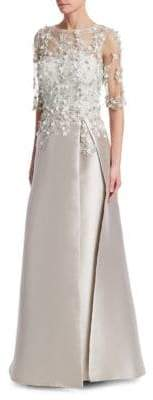 Teri Jon by Rickie Freeman Floral-Applique Embellished Gown