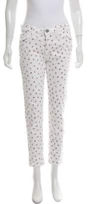 Current/Elliott Floral Print Mid-Rise Skinny Jeans White Floral Print Mid-Rise Skinny Jeans