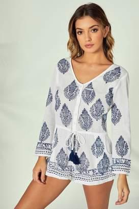47f08adae8 South Beach Womens Print Long Sleeve Playsuit - White