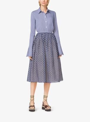 Michael Kors Gingham Lattice-Embroidered Cotton-Poplin Skirt