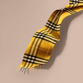 Burberry The Classic Check Cashmere Scarf, Yellow
