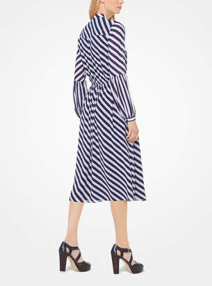 MICHAEL Michael Kors Striped Georgette Shirtdress