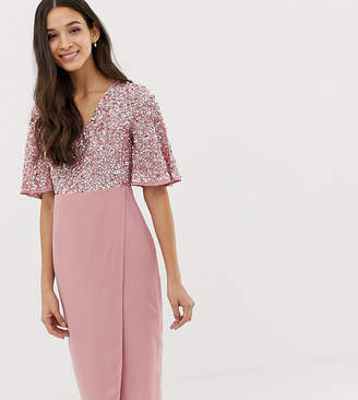 Maya sequin top midi pencil dress with flutter sleeve detail in vintage rose
