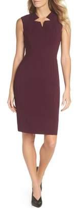 Tahari Star Neckline Crepe Sheath Dress