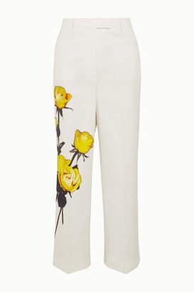 Prada Floral-print Cotton-poplin Straight-leg Pants - White
