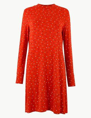 Marks and Spencer Printed Jersey Long Sleeve Swing Mini Dress
