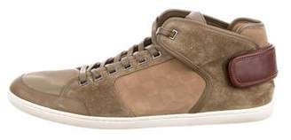 Louis Vuitton Round-Toe Mid-Top Sneakers