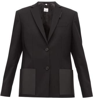 Burberry Narbeth Leather Trimmed Wool Blazer - Womens - Black