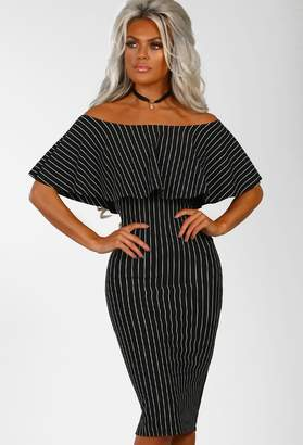 a2ab1ed33a5d6 Pink Boutique Boss Vibes Black Pinstripe Bardot Bodycon Midi Dress