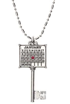 Personalized Silvertone Calendar Key Pendant w/Chain