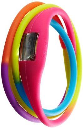 Breo ツイストユニセックスデジタル腕時計グレーダイヤルデジタル表示とピンクマルチカラーゴムバングルb-ti-rtw3 m