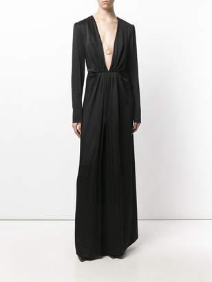 Saint Laurent V-neck gathered waist dress