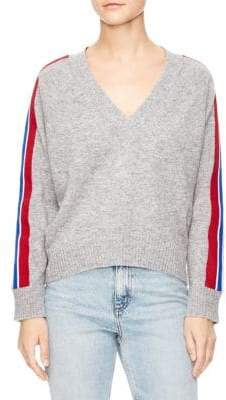 Sandro Briona Wool-Blend Striped V-Neck Sweater